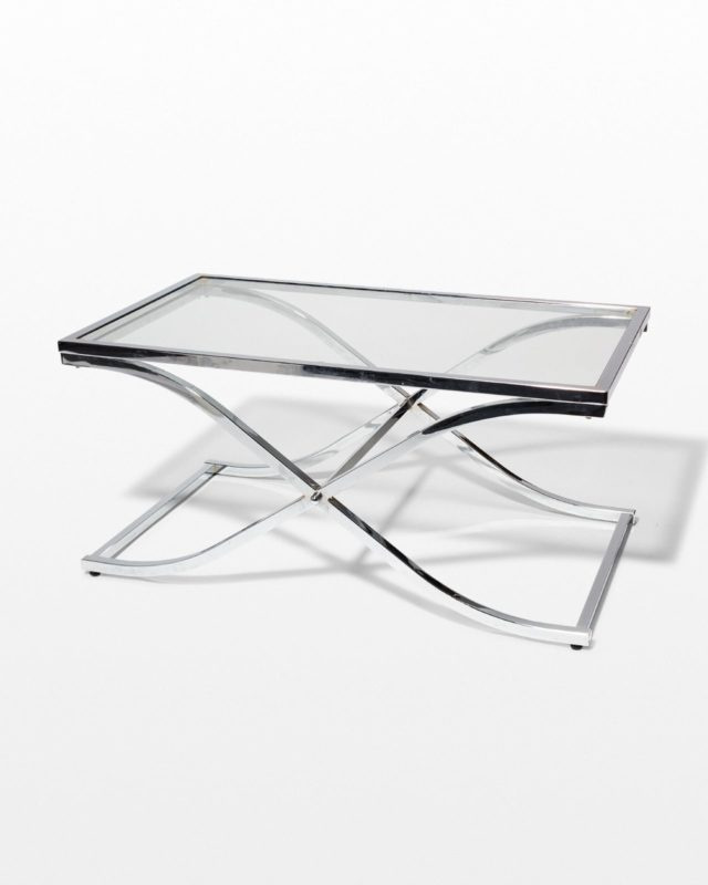 Front view of Winnie Chrome Cross Coffee Table