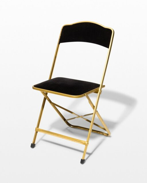 Front view of Black Velvet Folding Chair