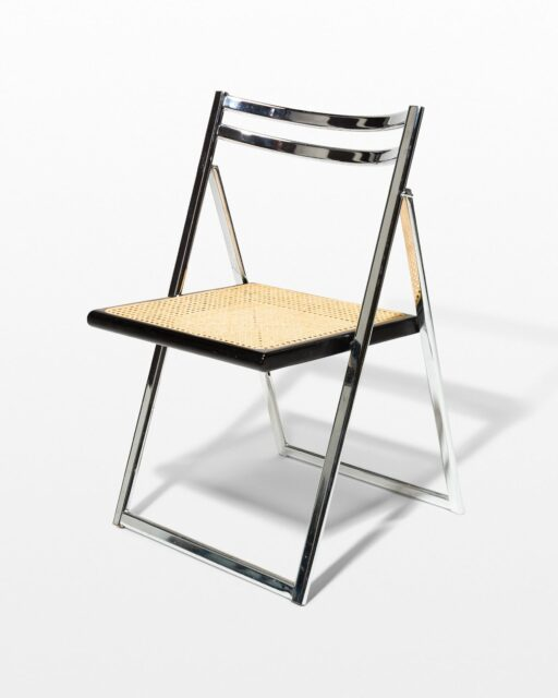 Front view of Dash Chrome and Caned Folding Chair