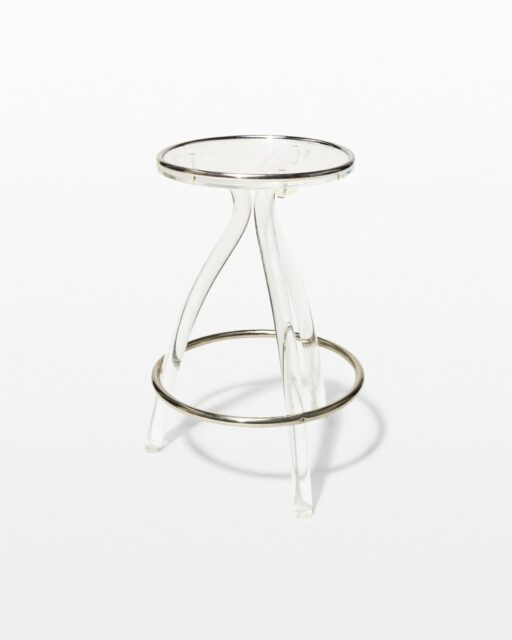 Front view of Keaton Acrylic and Chrome Stool