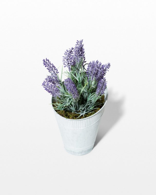 Front view of Rosemarie Faux Potted Lavender Plant