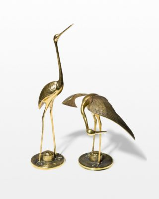 Front view of Knowles Brass Crane Pair