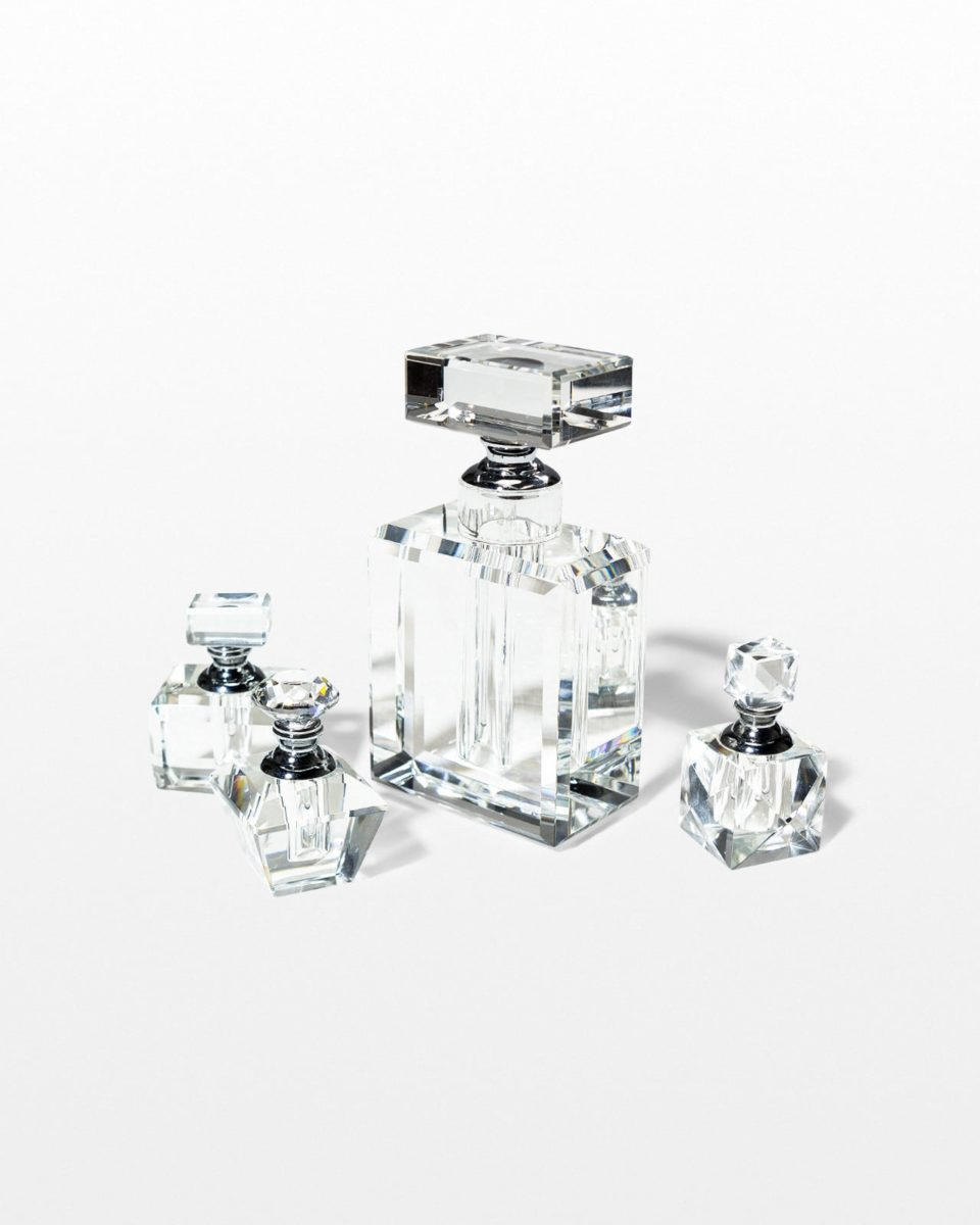 Front view of Claire Glass Perfume Bottle Set