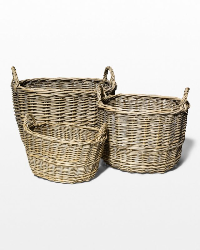 Front view of Zinnia Wicker Basket Trio