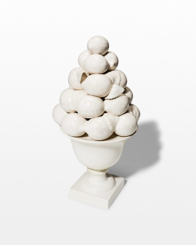 Front view of Bone Ceramic Fruit Bowl Sculpture