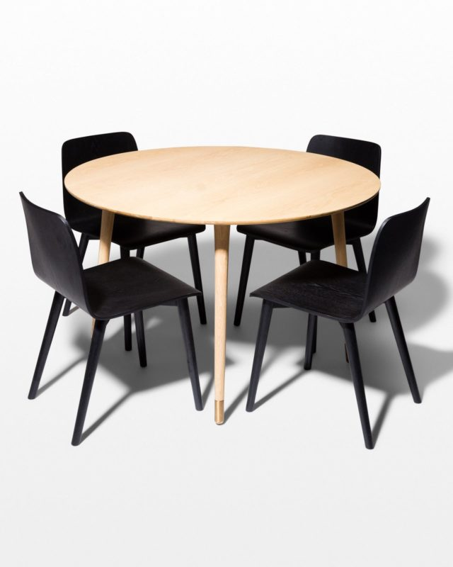 Front view of Brass Toe and Aria Charcoal Dining Set
