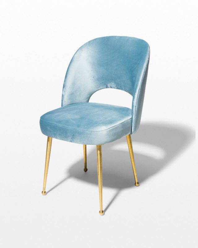Front view of Ingrid Blue Velvet and Gold Chair
