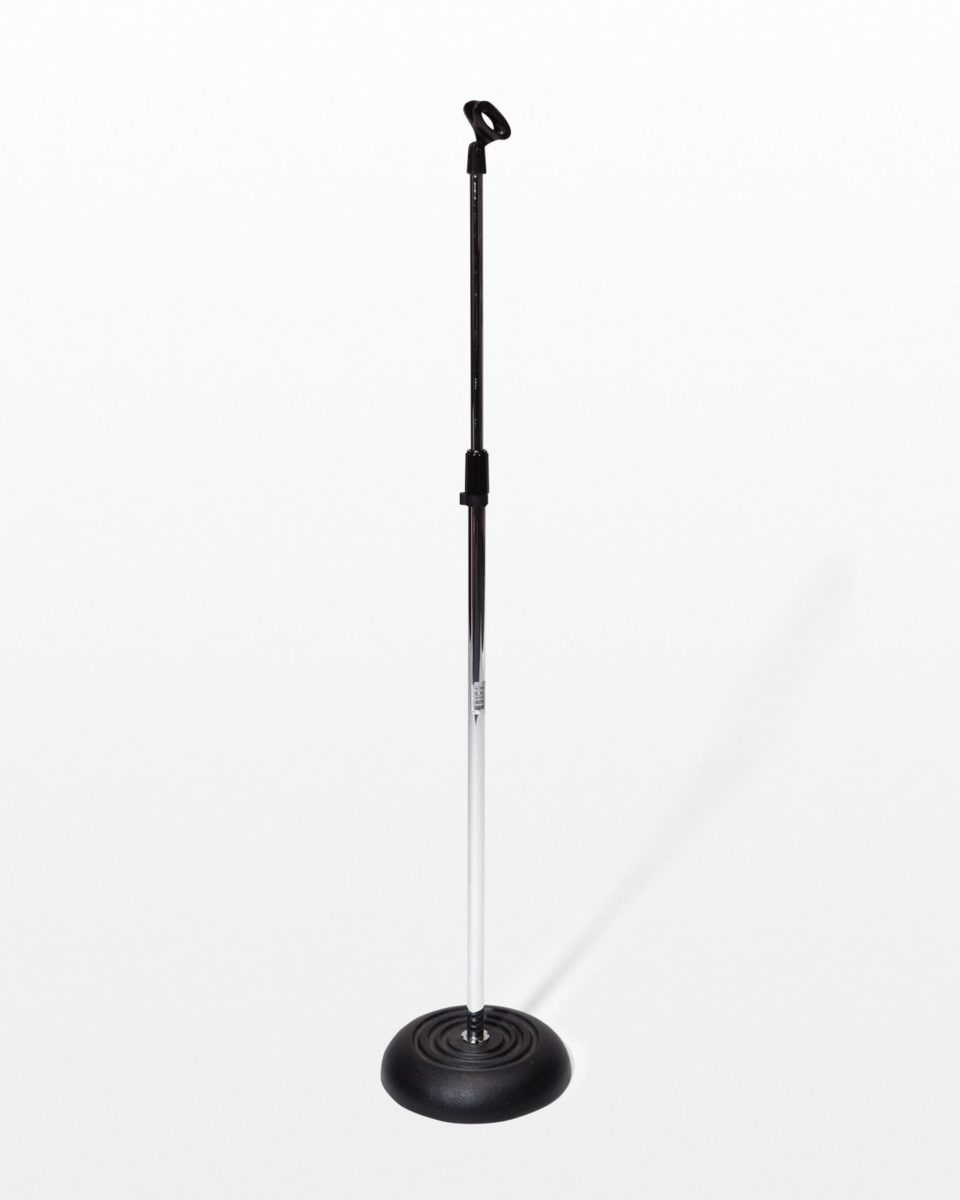 Front view of Chrome Microphone Stand
