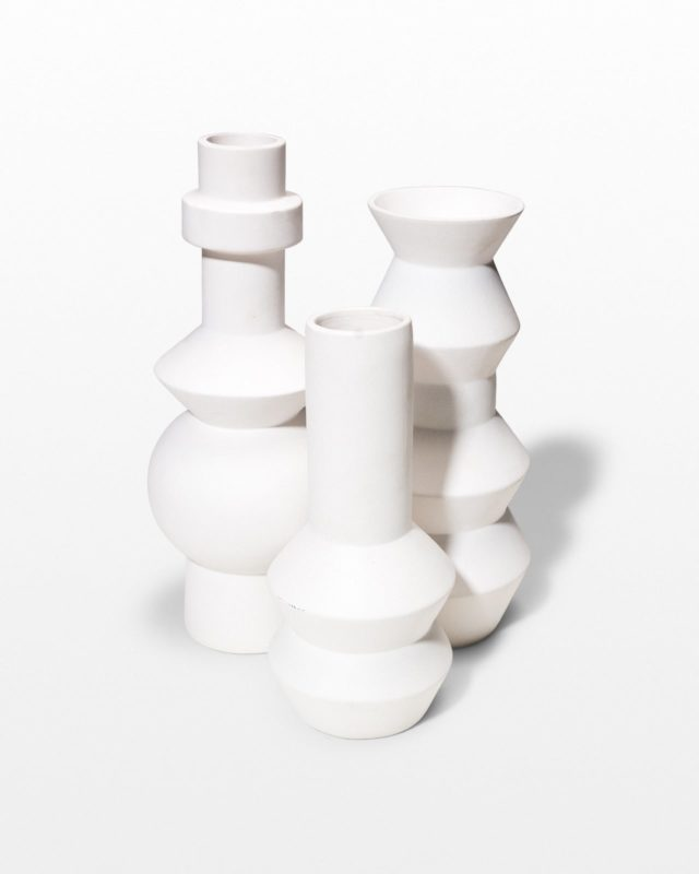 Front view of Canopy White Ceramic Vase Trio