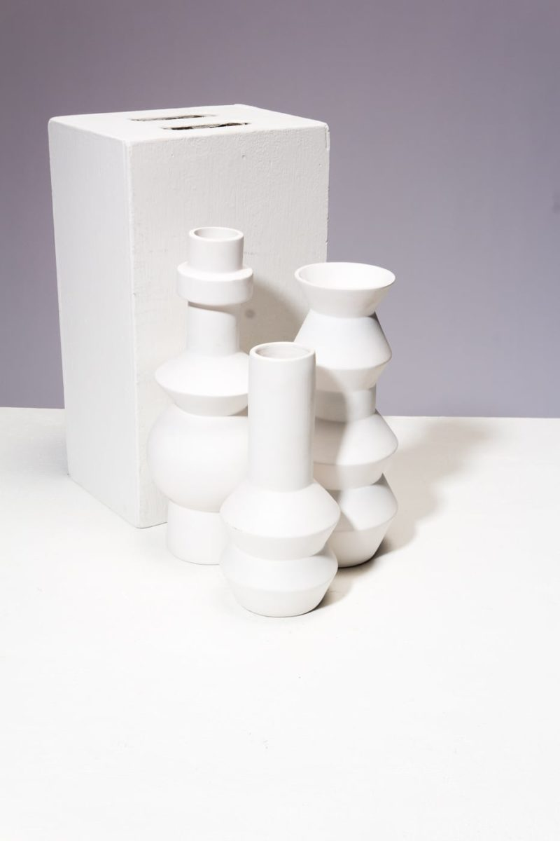 Alternate view 1 of Canopy White Ceramic Vase Trio