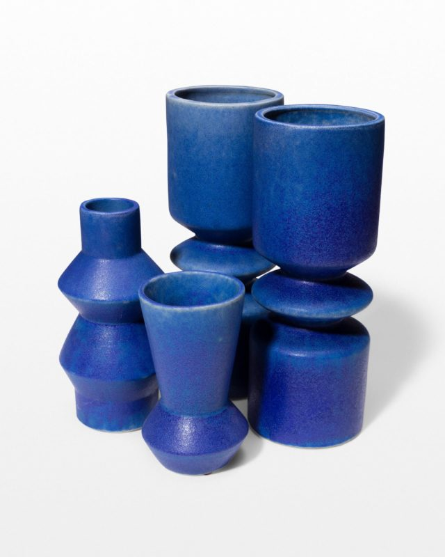 Front view of Lovell Blue Ceramic Vase Trio