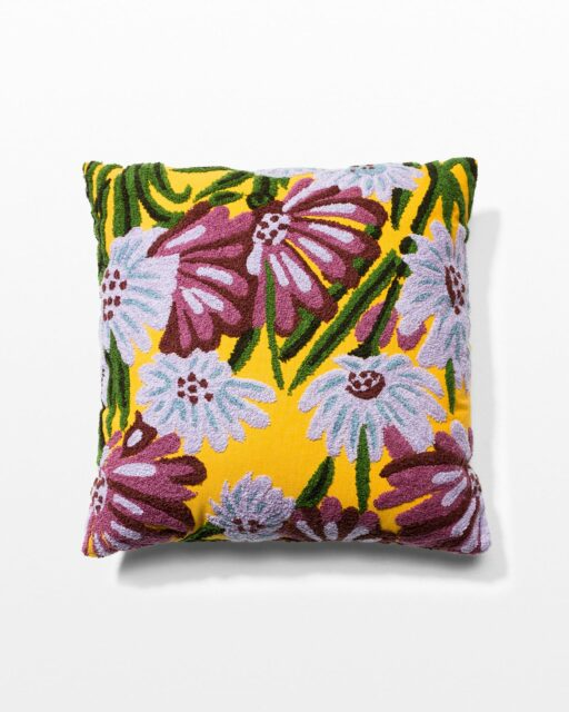 Front view of Jasper Floral Embroidered Pillow