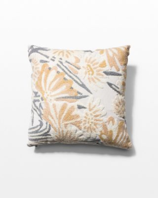 Front view of Dove Floral Embroidered Pillow