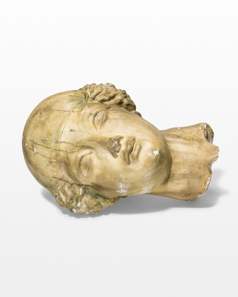 Front view of Greco Oversized Distressed Head Sculpture