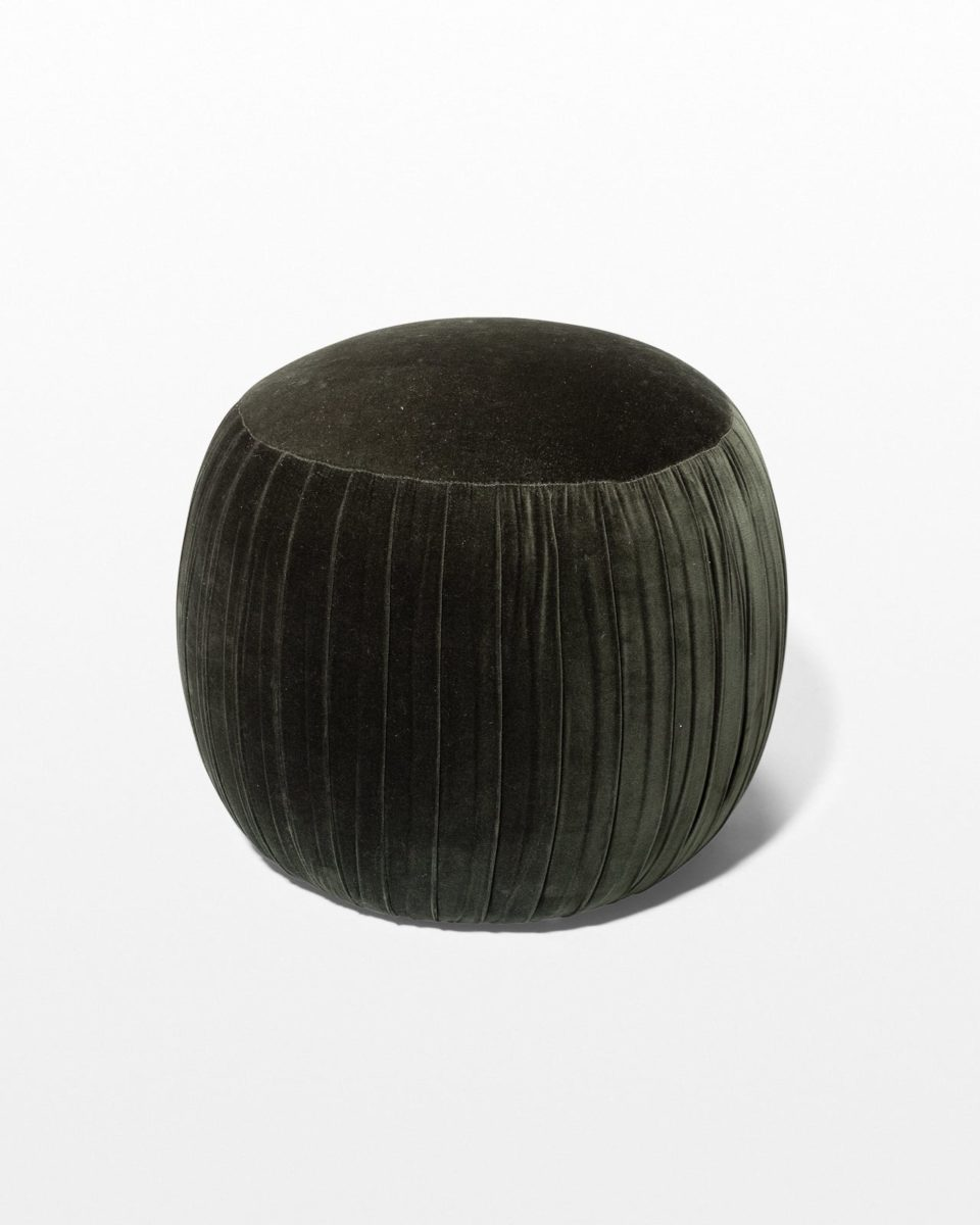 Front view of Loch Channeled Green Velvet Ottoman