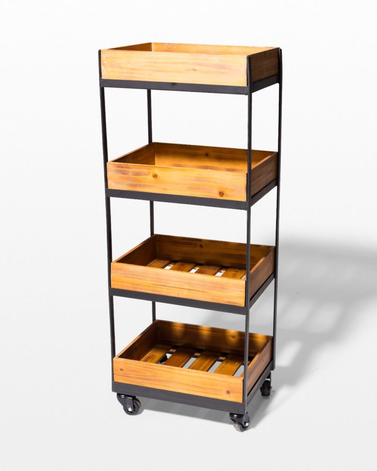 Front view of Tate 4-Shelf Rolling Cart