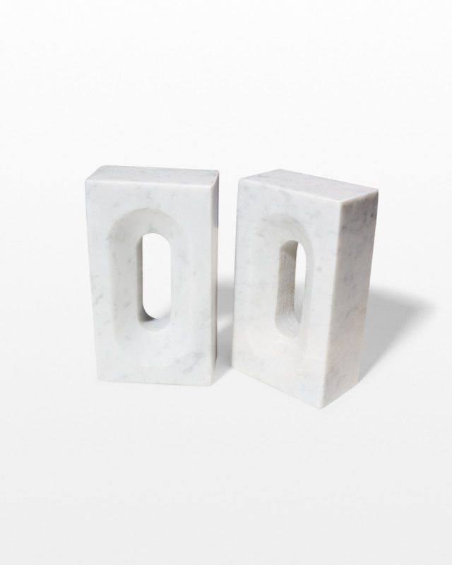 Front view of Shore Marble Bookend Object Pair