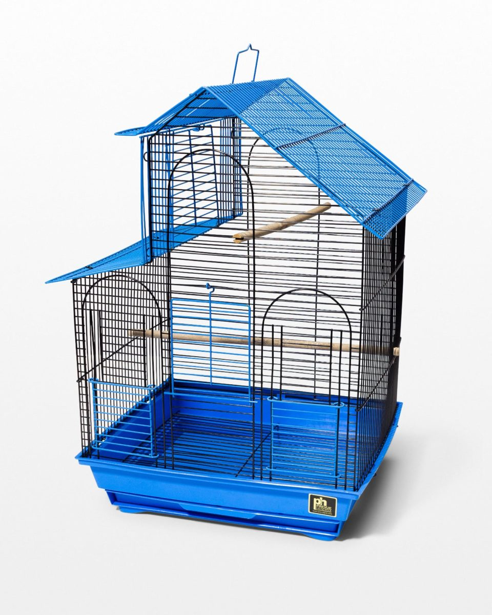 Front view of Kang Blue Wire Birdcage