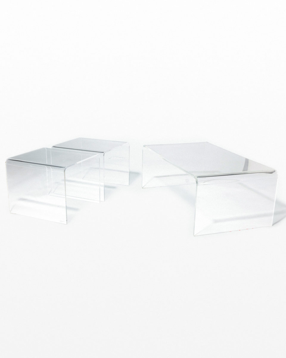 Front view of Brant Acrylic Coffee and Side Tables Set