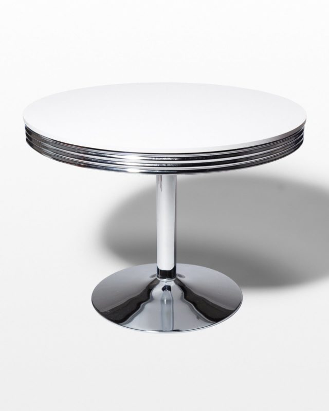 Front view of Crown Chrome Dining Table