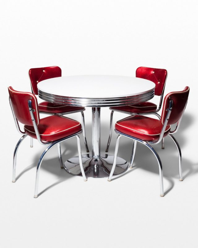 Front view of Crown Chrome and Vinyl Dining Set