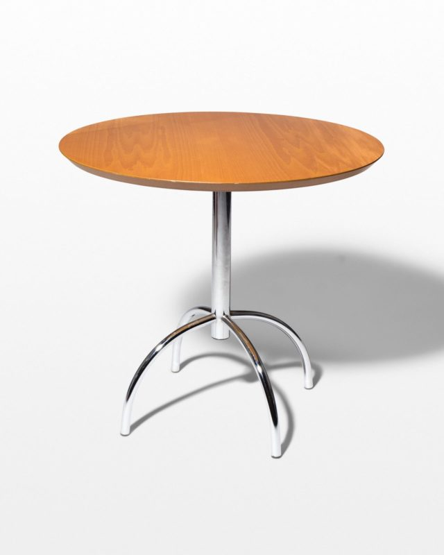 Front view of Travis Oak and Chrome Table