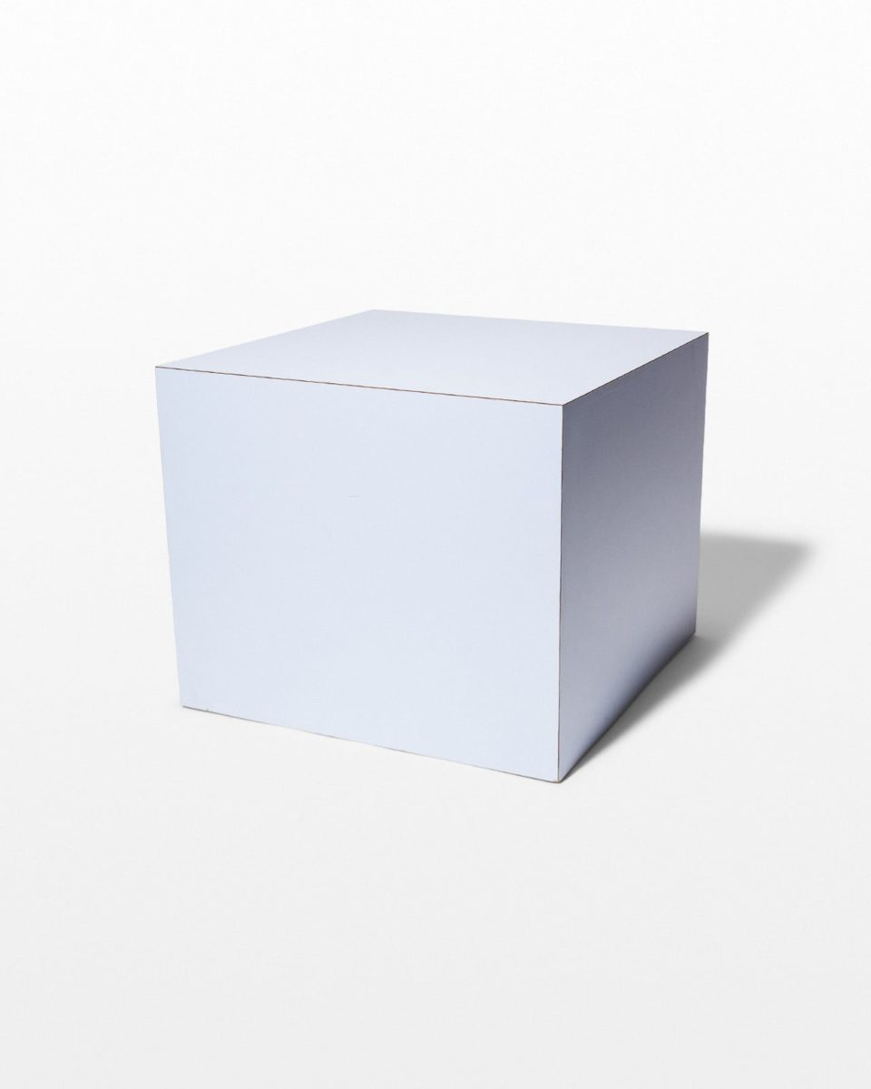 Front view of Nemo Light Blue Laminate Cube Side Table