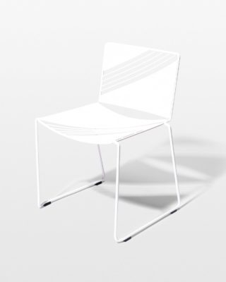 Front view of Fly White Enamel Chair