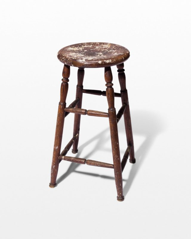Front view of Callum Distressed Spindle Stool