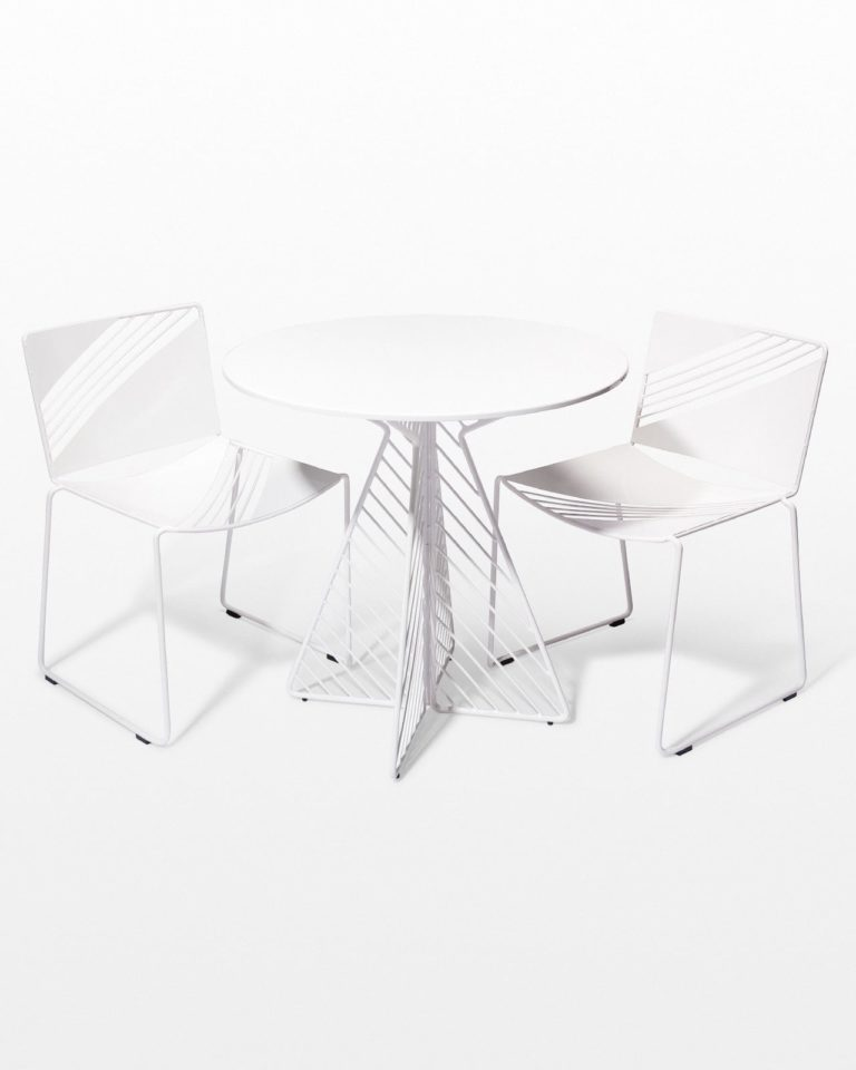 Front view of Fly White Enamel Bistro Table and Chair Set