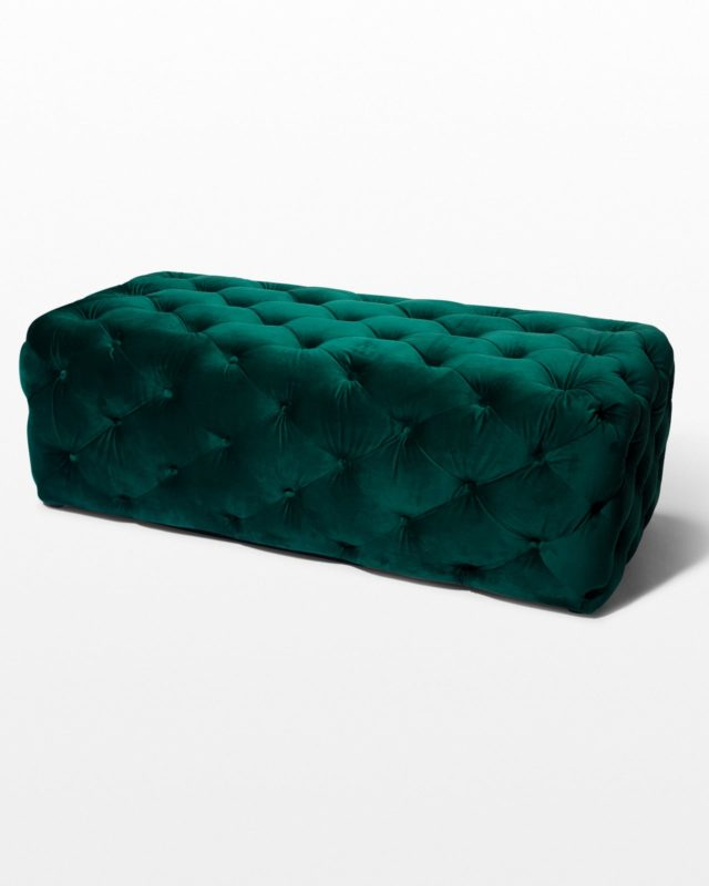 Front view of Ciara Tufted Green Velvet Ottoman