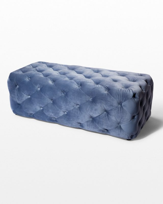 Front view of Gabi Tufted Sky Blue Velvet Ottoman