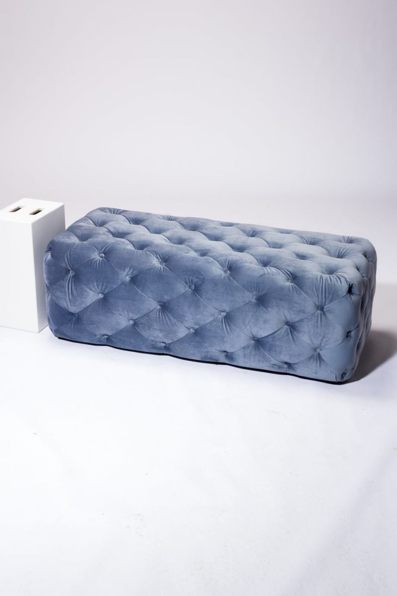 Alternate view 2 of Gabi Tufted Sky Blue Velvet Ottoman