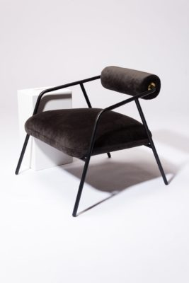 Alternate view 1 of Kirby Slate Velvet Lounge Chair