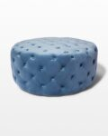 Front view thumbnail of April Tufted Sky Blue Velvet Round Ottoman