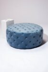 Alternate view thumbnail 2 of April Tufted Sky Blue Velvet Round Ottoman