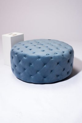 Alternate view 2 of April Tufted Sky Blue Velvet Round Ottoman