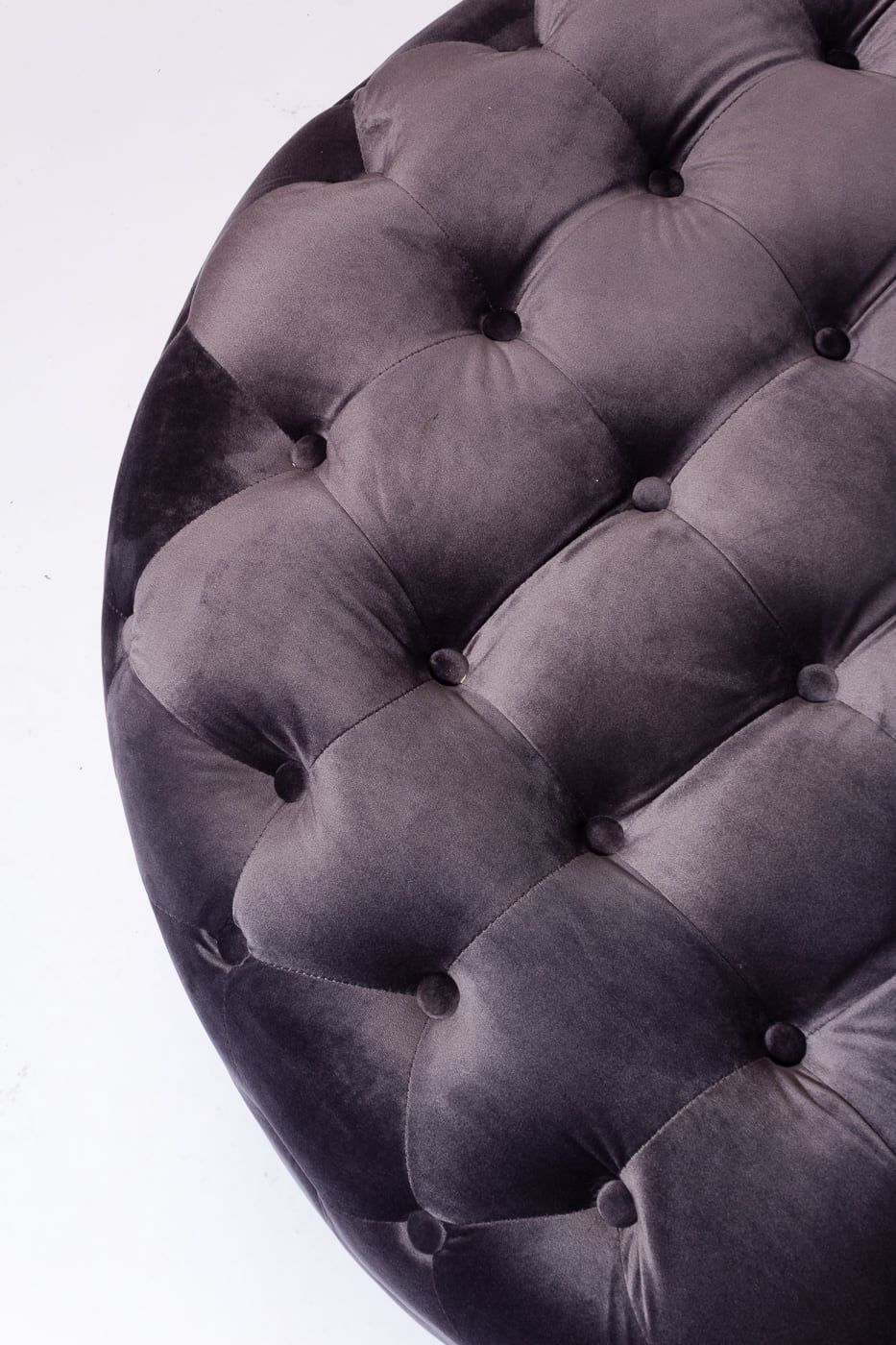 Cool Co084 Adrena Grey Velvet Round Ottoman Prop Rental Acme Caraccident5 Cool Chair Designs And Ideas Caraccident5Info