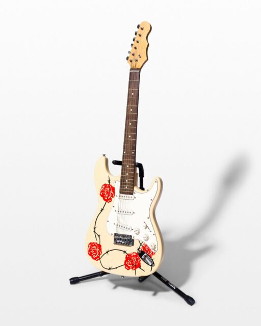 Front view of Barbed Wire and Rose Electric Guitar