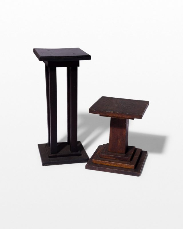 Front view of Sundry Wooden Display Riser Duo