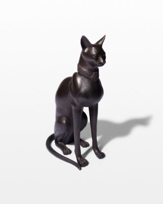 Front view of Rocco Metal Cat Sculpture