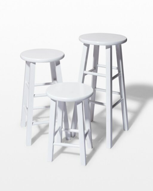 Front view of White Studio Stool Trio
