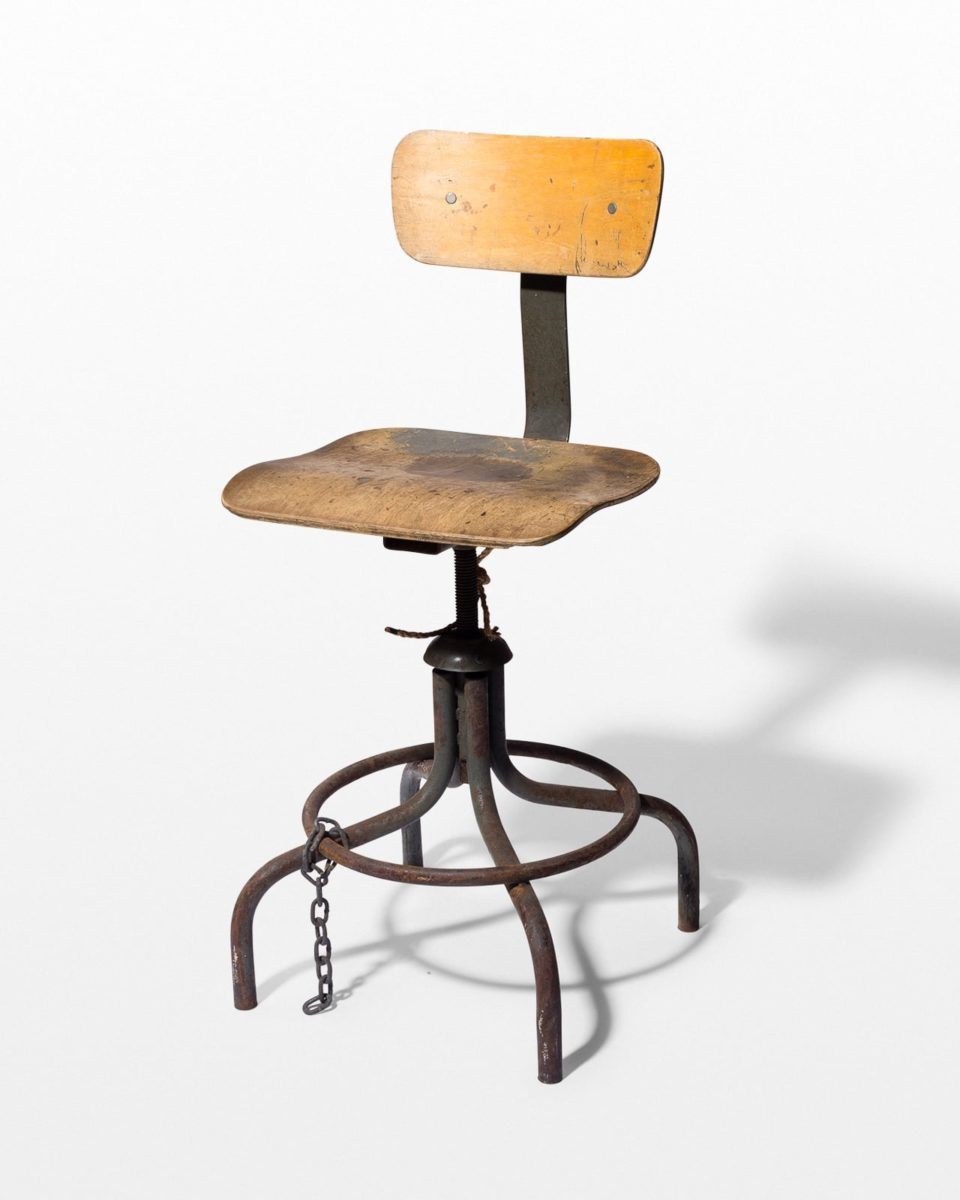 Front view of Pique Seatback Industrial Stool