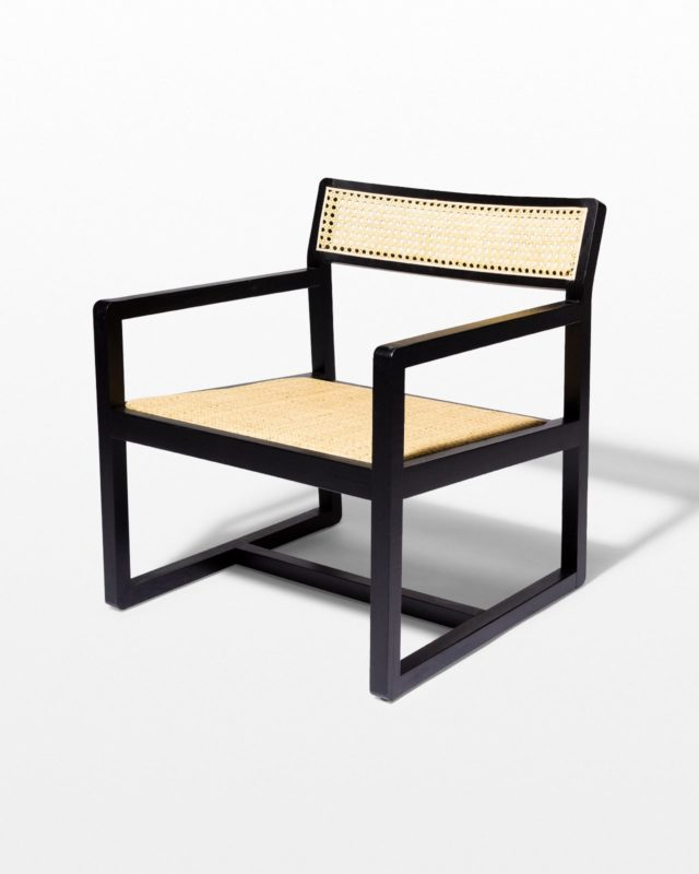Front view of Elon Black and Cane Chair