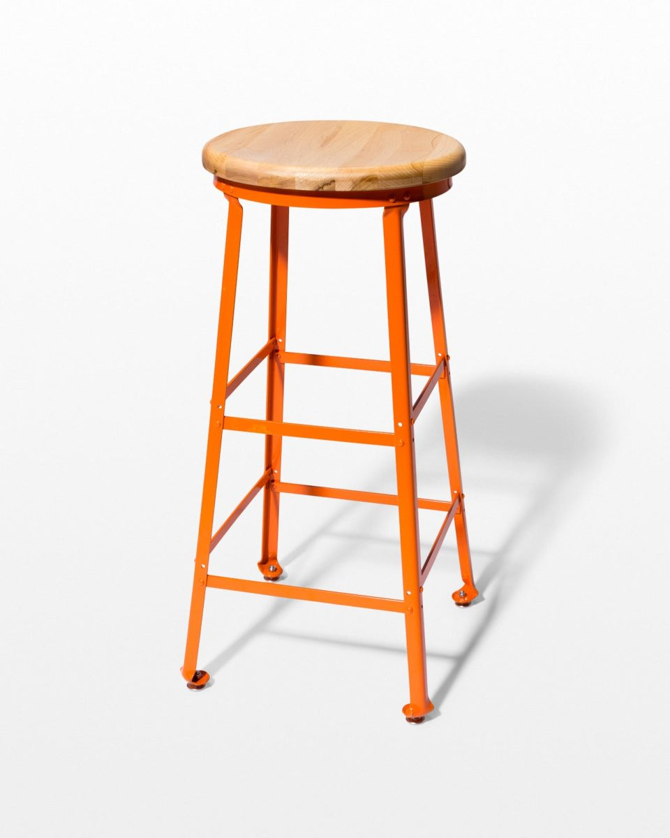 Front view of Kian Orange Steel Stool