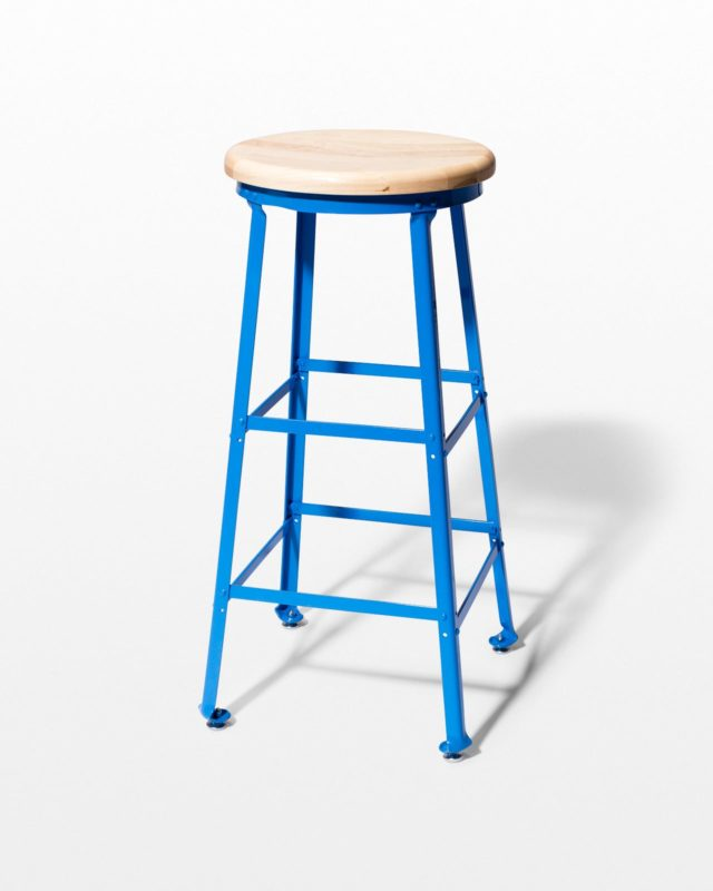 Front view of Ian Blue Steel Stool