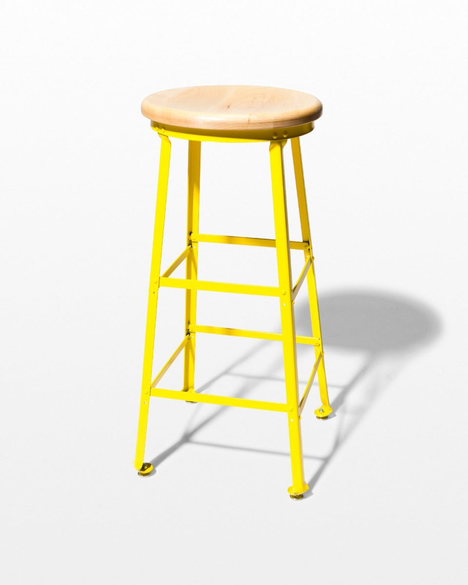 Front view of Kona Yellow Steel Stool