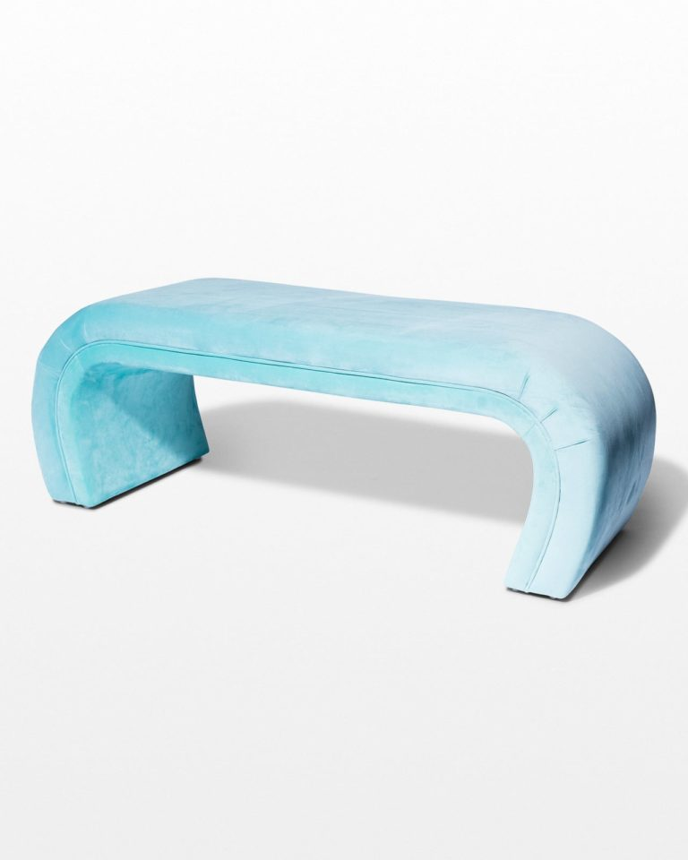 Front view of Arlo Velvet Waterfall Bench