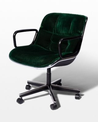Front view of Piero Green Velvet Rolling Chair