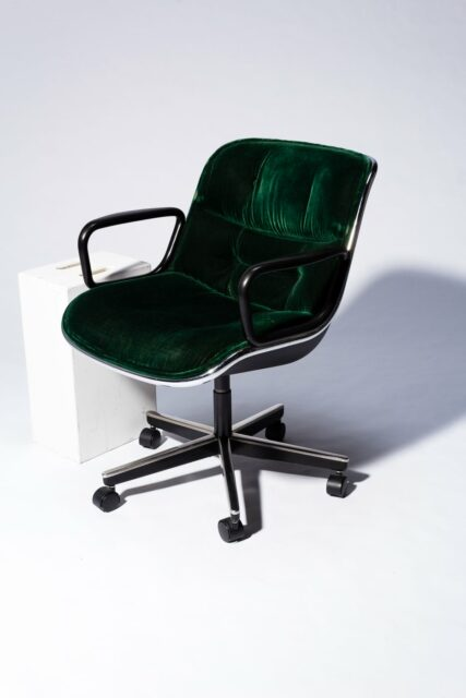 Alternate view 2 of Piero Green Velvet Rolling Chair